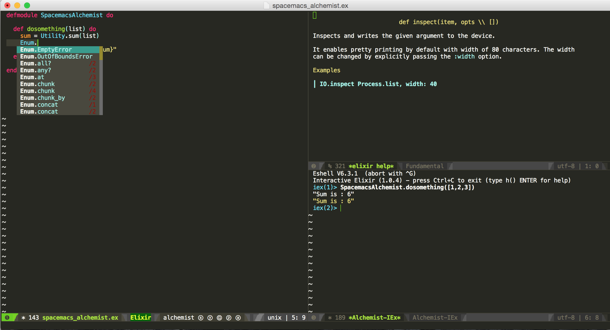 spacemacs and alchemist to make elixir of immortality