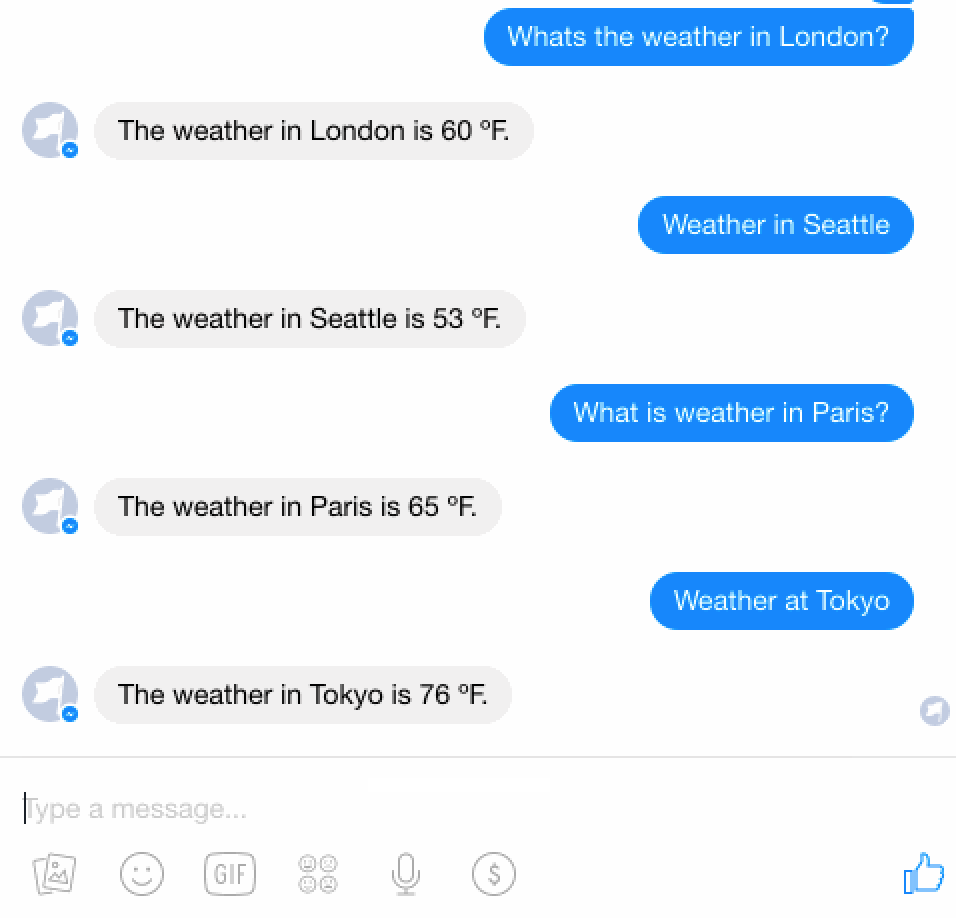 Weather bot conversation